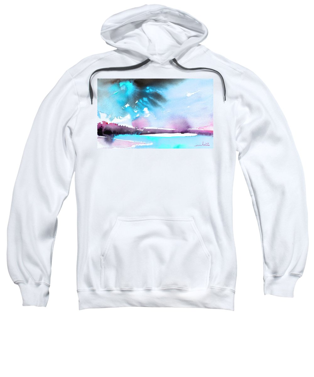 Watercolour Landscape Sweatshirt featuring the painting Late Afternoon 16 by Miki De Goodaboom