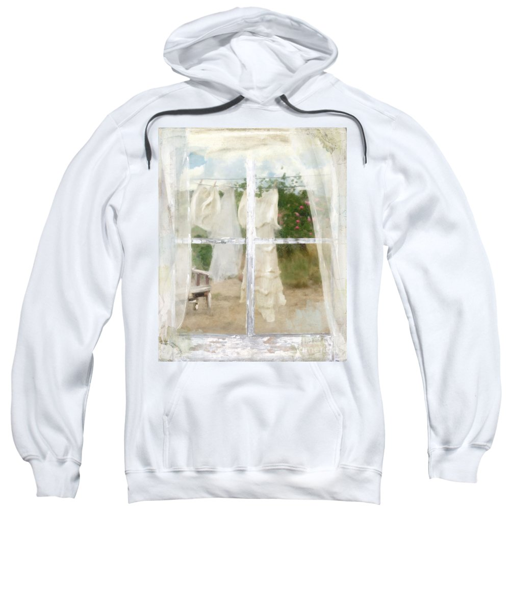 Laundry Sweatshirt featuring the painting Laundry Day by Mindy Sommers