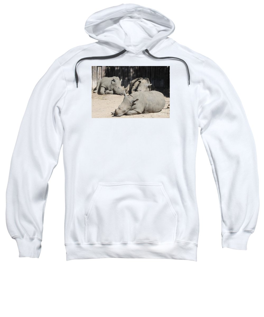 Rhinos Sweatshirt featuring the photograph Lazy Bones by Christiane Schulze Art And Photography