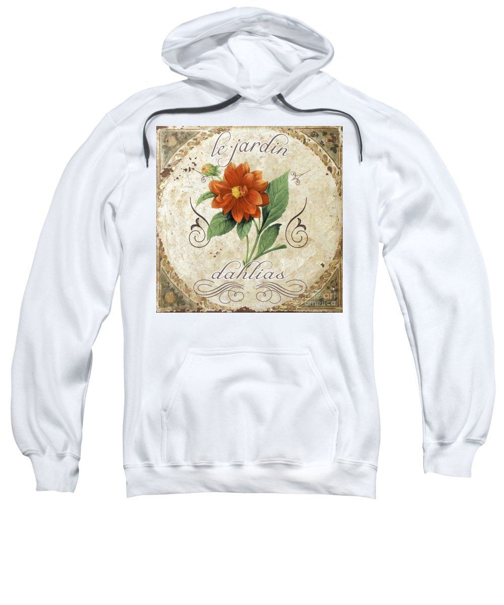 Le Jardin Dahlias Sweatshirt featuring the painting Le Jardin Dahlias by Mindy Sommers