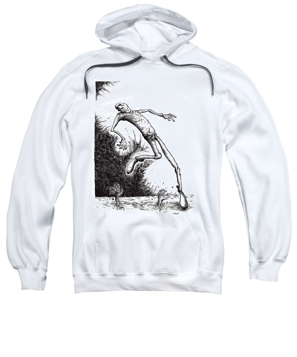 Black And White Sweatshirt featuring the drawing Leap by Tobey Anderson