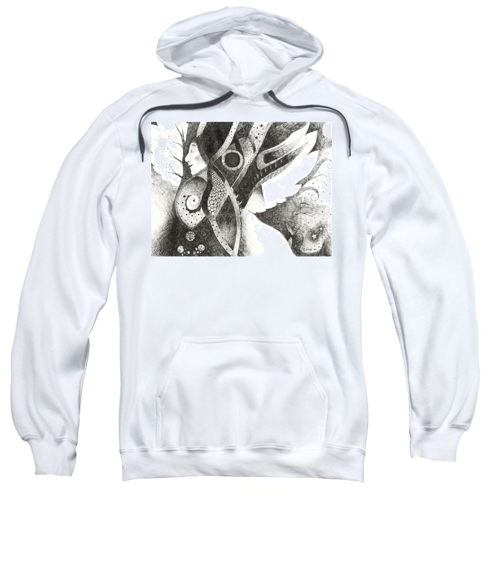 Angel Sweatshirt featuring the drawing Learning To Fly by Helena Tiainen