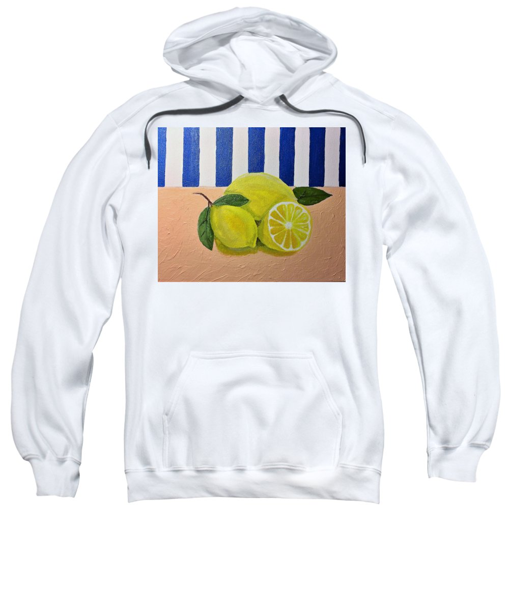 Still Life Sweatshirt featuring the tapestry - textile Lemons by Terri Huffman