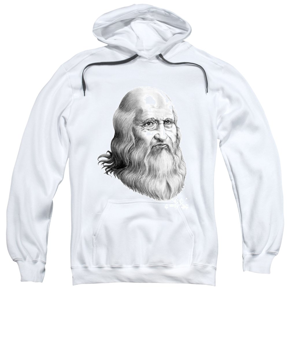 Famous Person Sweatshirt featuring the drawing Leonardo Da Vinci by Murphy Elliott