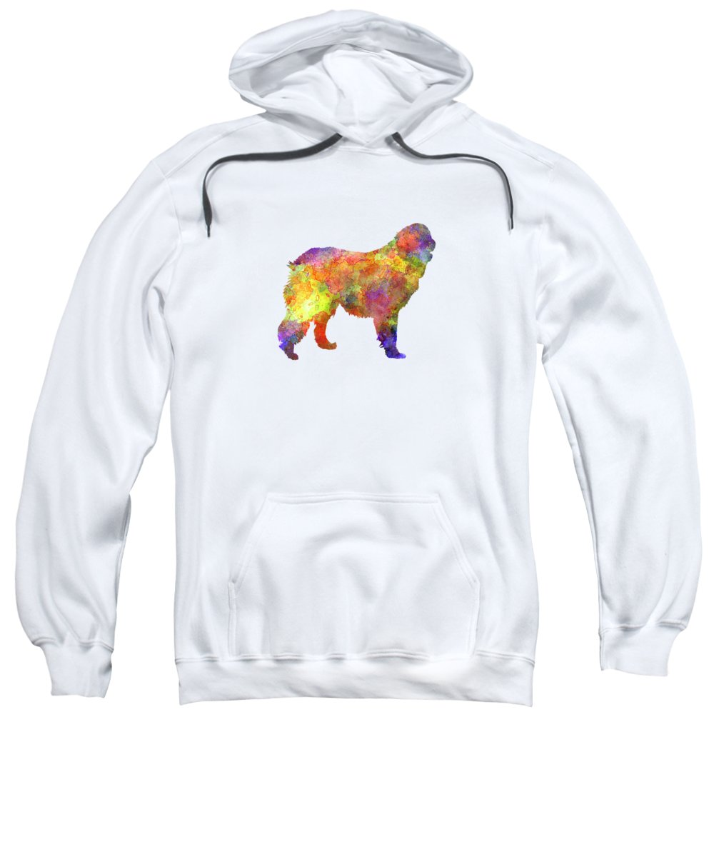 Leonberger Sweatshirt featuring the painting Leonberger In Watercolor by Pablo Romero