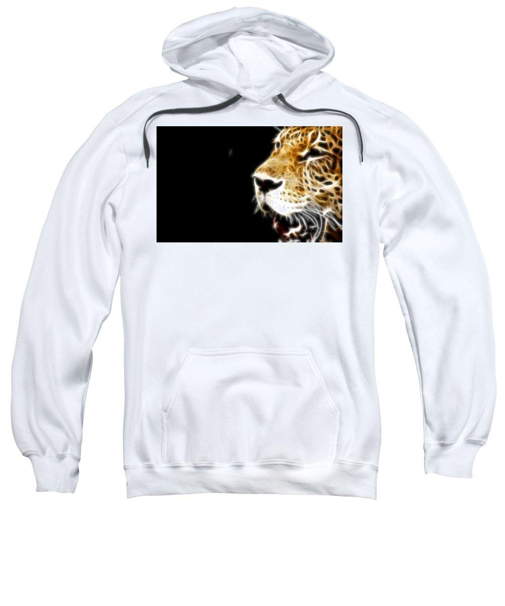 Leopard Sweatshirt featuring the digital art Leopard by Bert Mailer