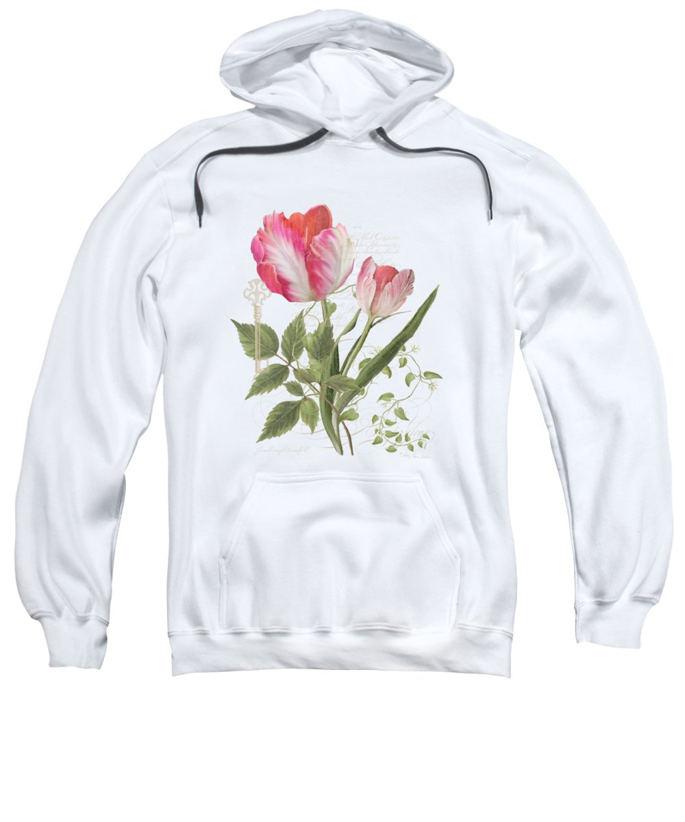 Parrot Tulip Sweatshirt featuring the painting Les Magnifiques Fleurs I - Magnificent Garden Flowers Parrot Tulips N Indigo Bunting Songbird by Audrey Jeanne Roberts