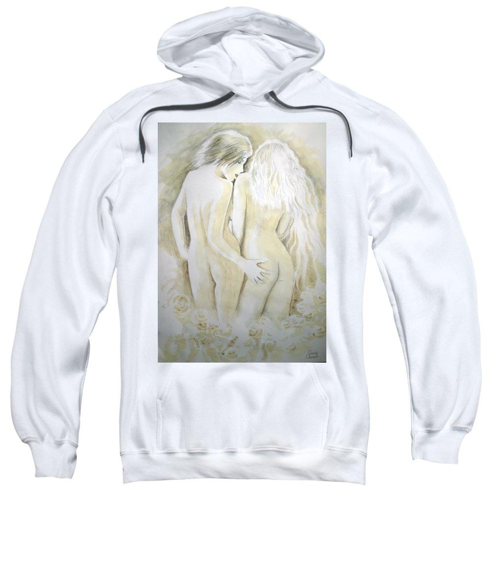 Lesbians Sweatshirt featuring the painting Lesbians by Chirila Corina
