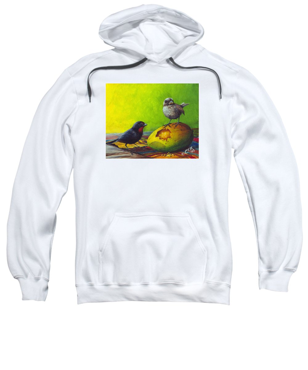 Chris Cox Sweatshirt featuring the painting Lesser Antillean Bullfinches And Mango by Christopher Cox