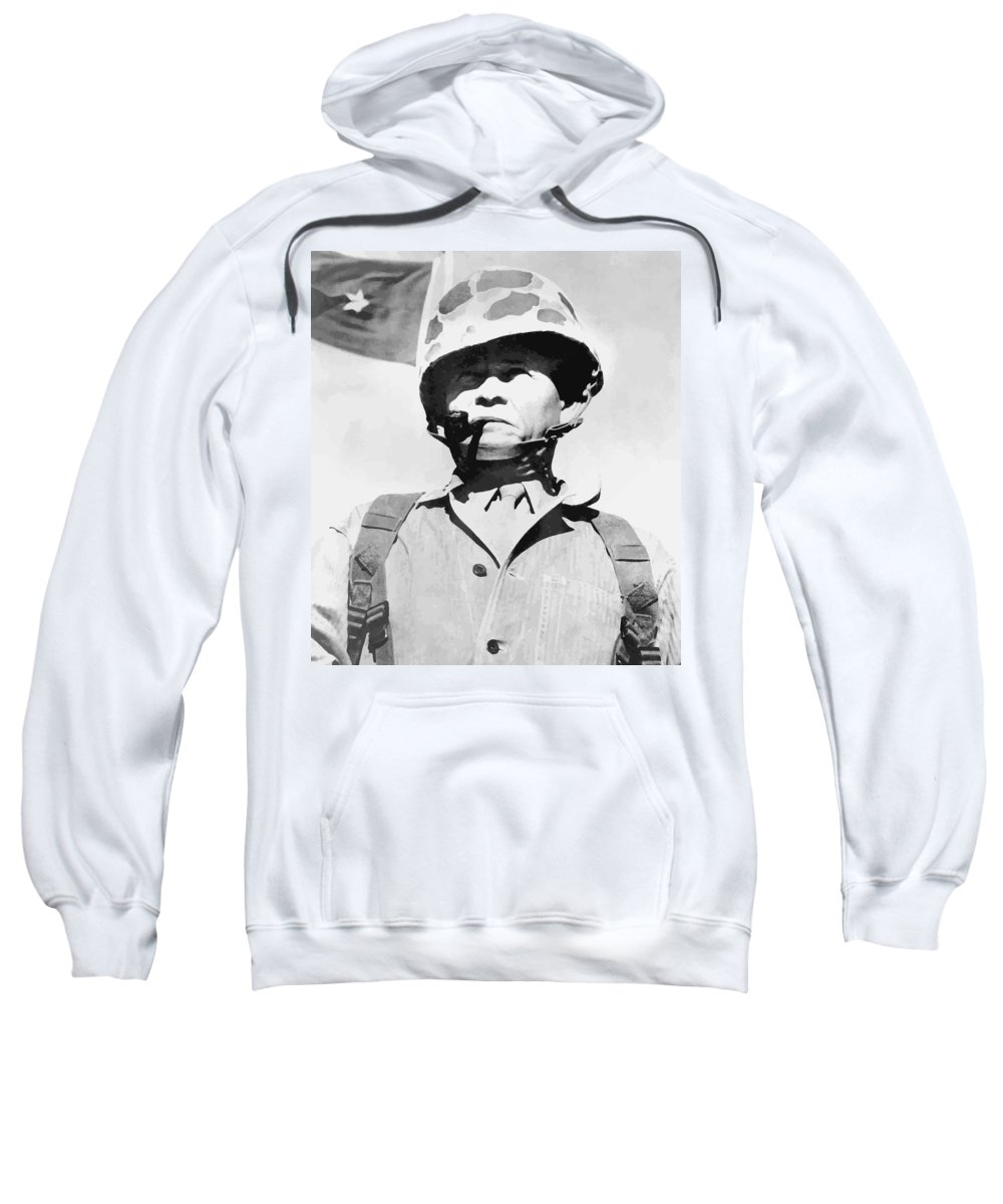 Chesty Puller Sweatshirt featuring the painting Lewis Chesty Puller by War Is Hell Store