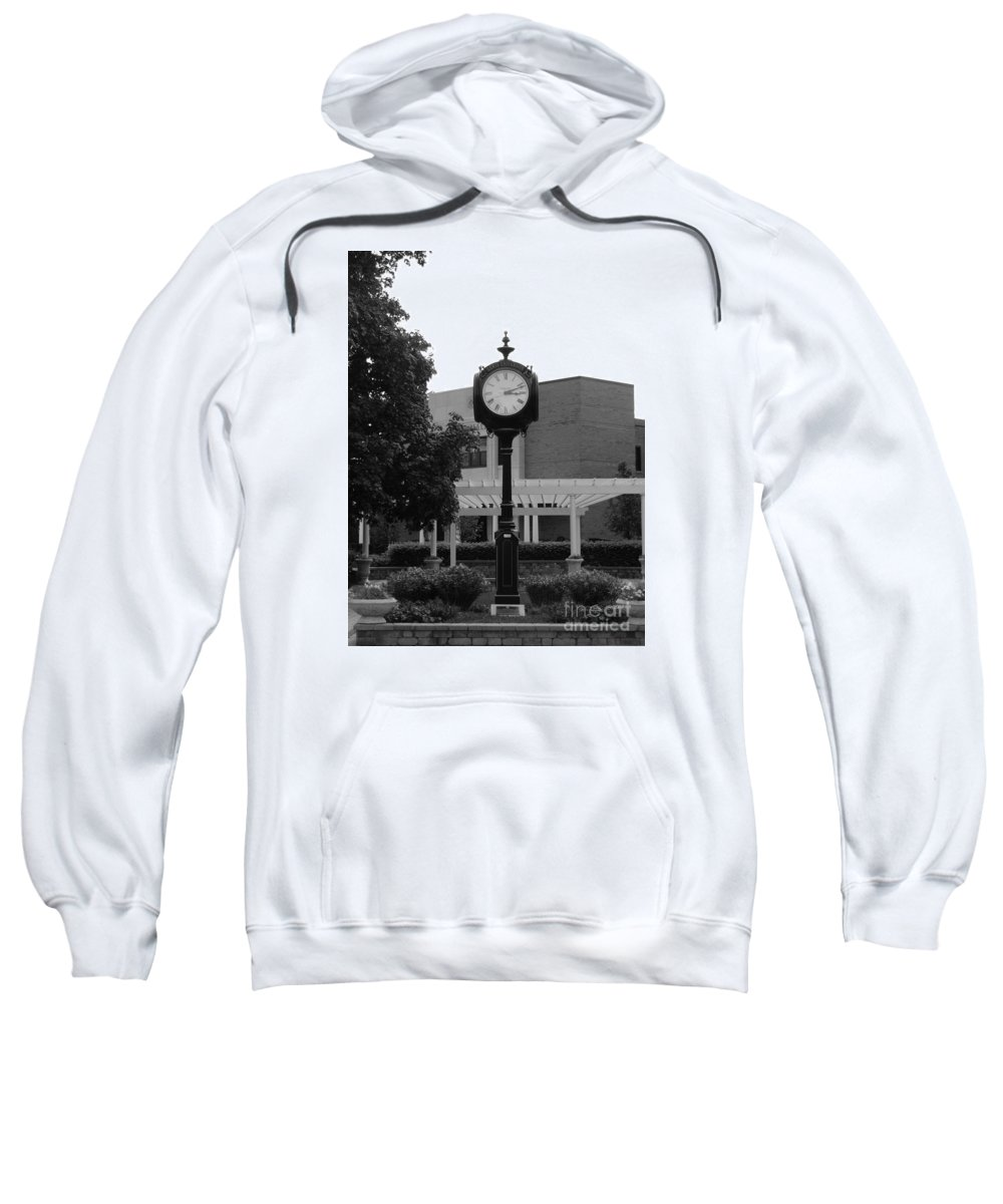 Clock Sweatshirt featuring the photograph Lewis University Clock In Black And White by Teresa Hayes