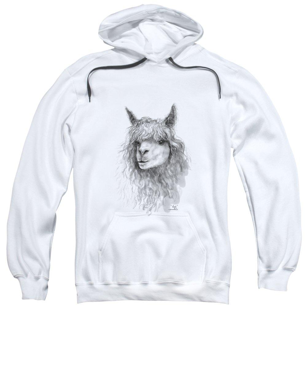 Llama Art Sweatshirt featuring the drawing Lexi by K Llamas