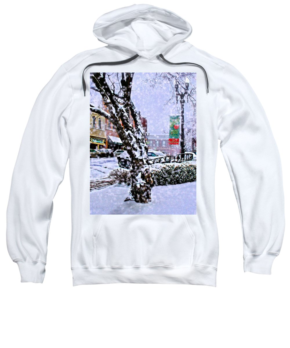 Landscape Sweatshirt featuring the photograph Liberty Square In Winter by Steve Karol