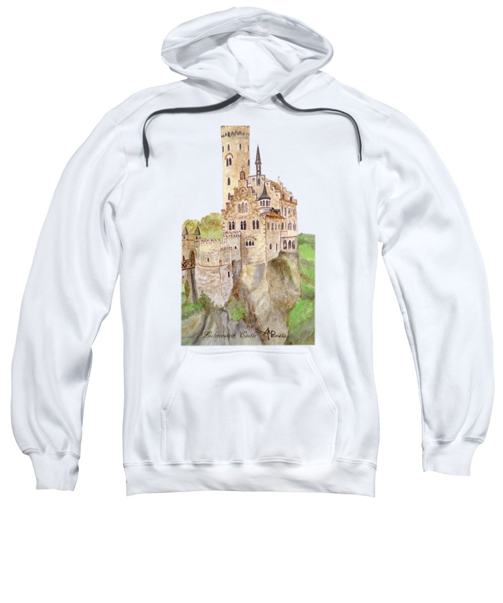 Castles Sweatshirt featuring the painting Lichtenstein Castle by Angeles M Pomata