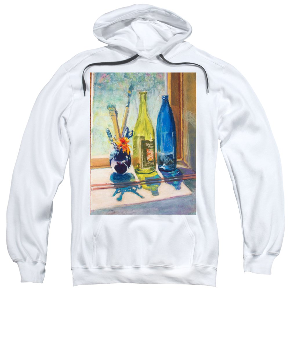 Bottles Sweatshirt featuring the painting Light And Bottles by Laurie Paci