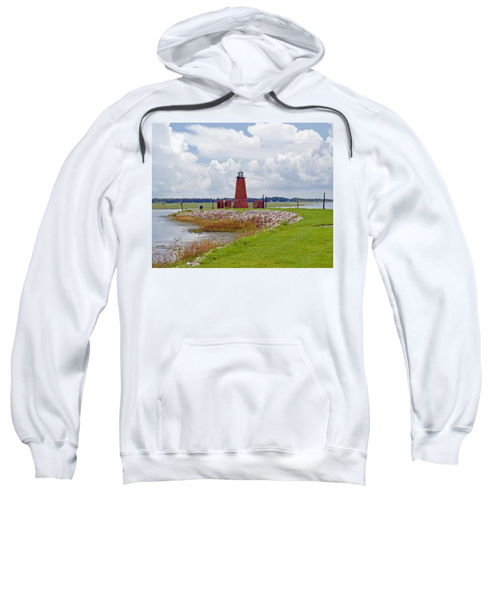 Florida; Kissimmee; Toho; Tohopekaliga; Port; Light; Lighthouse; House; Beacon; Brick; Central; Harb Sweatshirt featuring the photograph Lighthouse At Port Kissimmee On Lake Tohopekaliga In Central Florida  by Allan Hughes