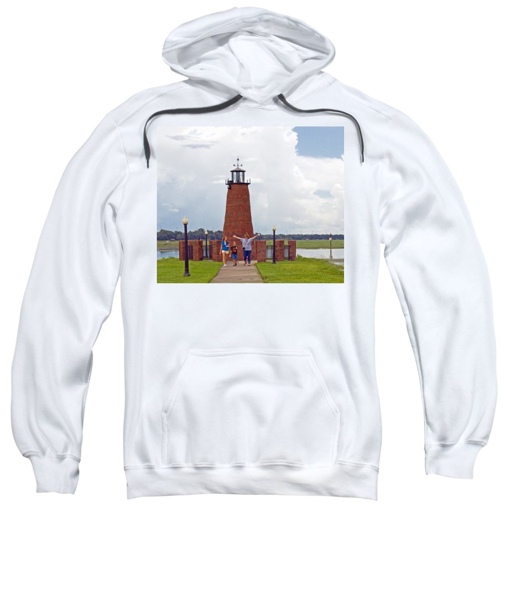 Florida; Kissimmee; Toho; Tohopekaliga; Port; Light; Lighthouse; House; Beacon; Brick; Central; Harb Sweatshirt featuring the photograph Lighthouse At The Port Of Kissimmee On Lake Tohopekaliga In Central Florida by Allan Hughes
