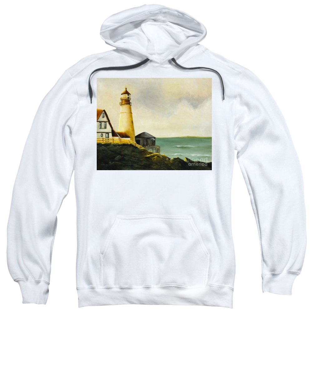 Landscape Sweatshirt featuring the painting Lighthouse In Oil by Marlene Book