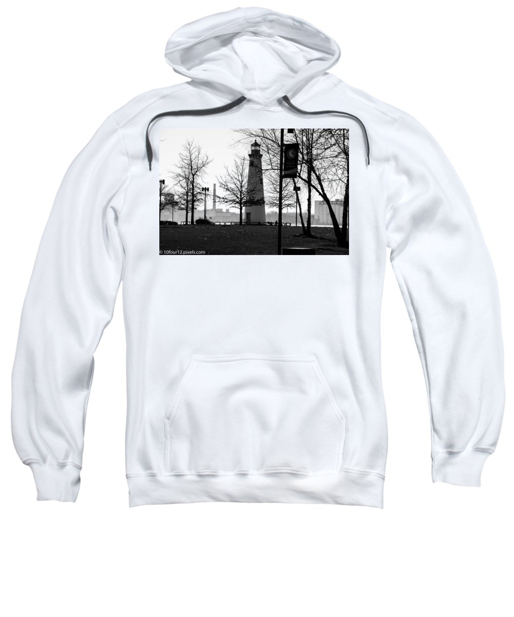 Detroit Michigan Lighthouse Black And White Sweatshirt featuring the photograph Lighthouse by Terry Cross