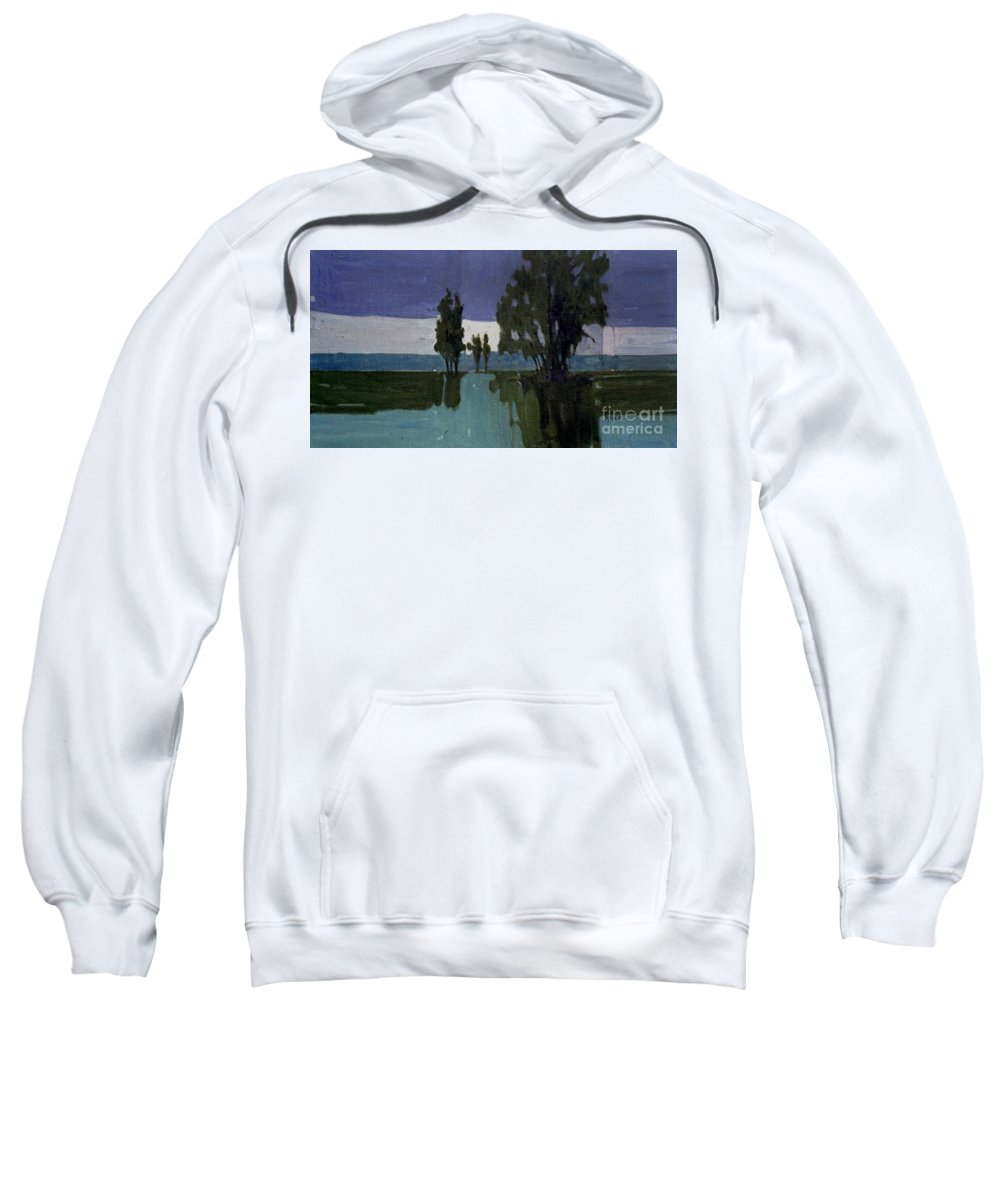 Nocturne Sweatshirt featuring the painting Lights On The Horizon by Donald Maier