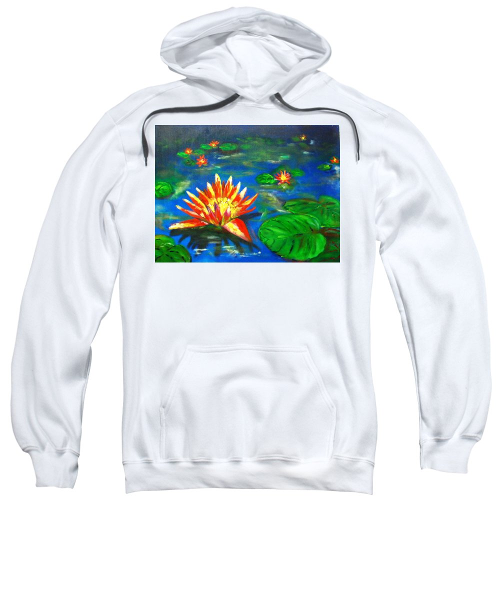 Lilies Sweatshirt featuring the Lilies By The Pond by Matthew Doronila
