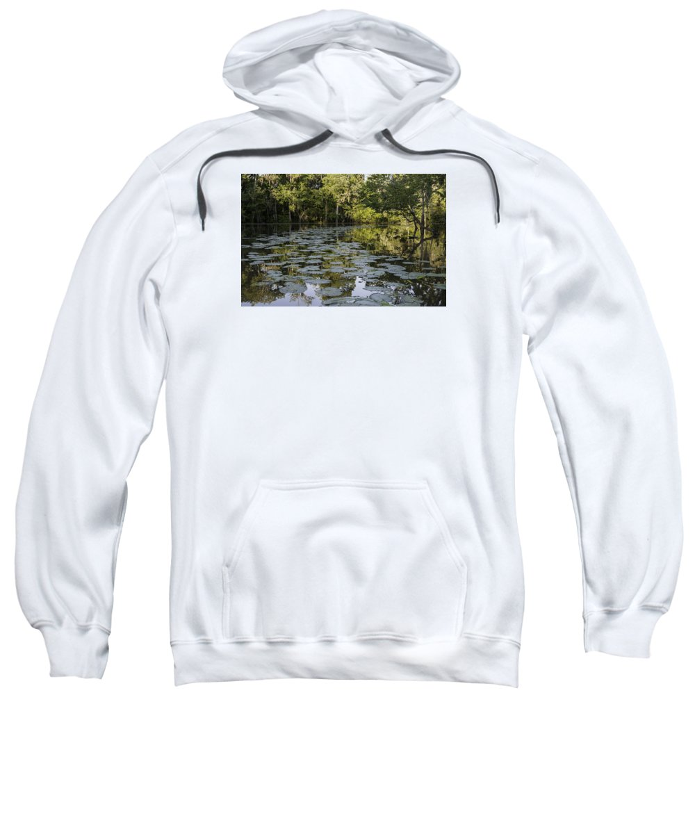 Louisiana Wetlands Sweatshirt featuring the photograph Lily Bend On Blind River by Richard Waller