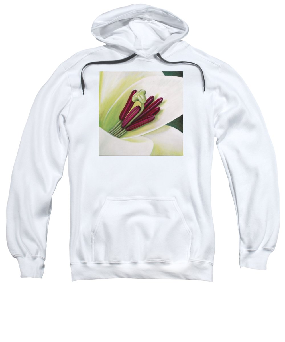 Flower Sweatshirt featuring the painting Lily by Rob De Vries