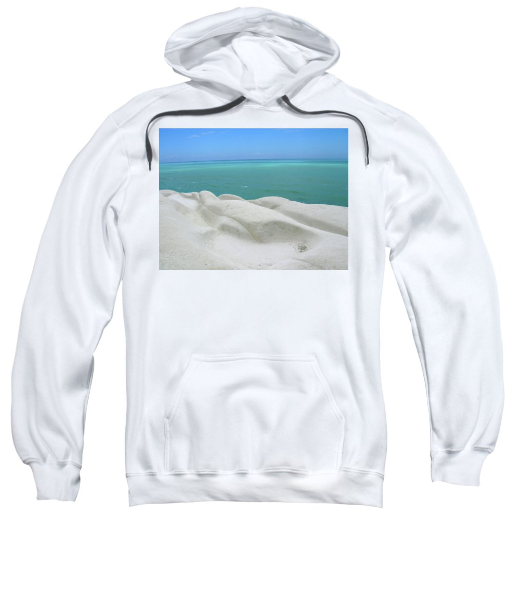 Limestone Sweatshirt featuring the photograph Limestone Cliffs And Sea by Stefania Levi
