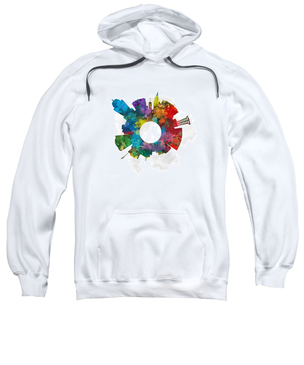 Map Sweatshirt featuring the digital art Lincoln Small World Cityscape Skyline Abstract by Jurq Studio