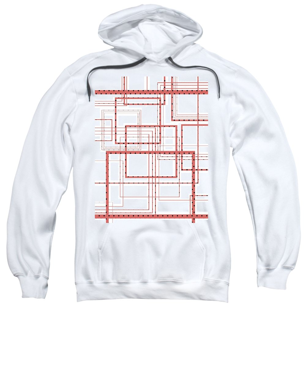 Red Sweatshirt featuring the digital art Lines by Kaitilyn Furister