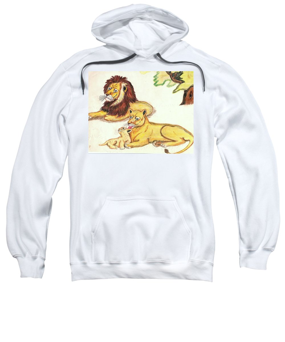Lions Sweatshirt featuring the drawing Lions Of The Tree by George I Perez
