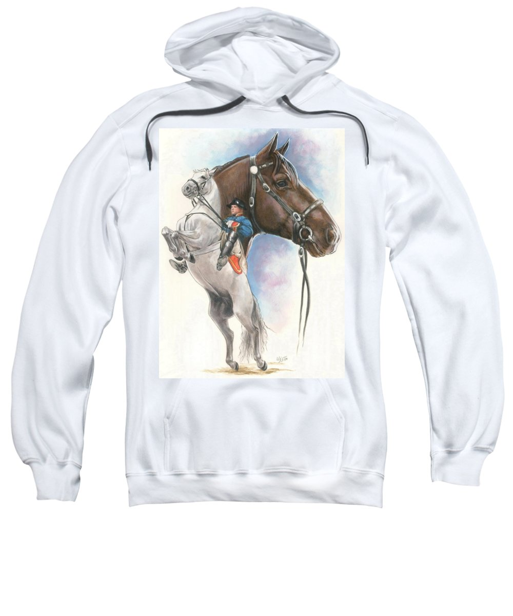 Spanish Riding School Sweatshirt featuring the mixed media Lippizaner by Barbara Keith