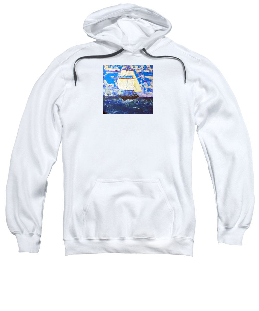 Impressionist Painting Sweatshirt featuring the painting Little Clipper by J R Seymour