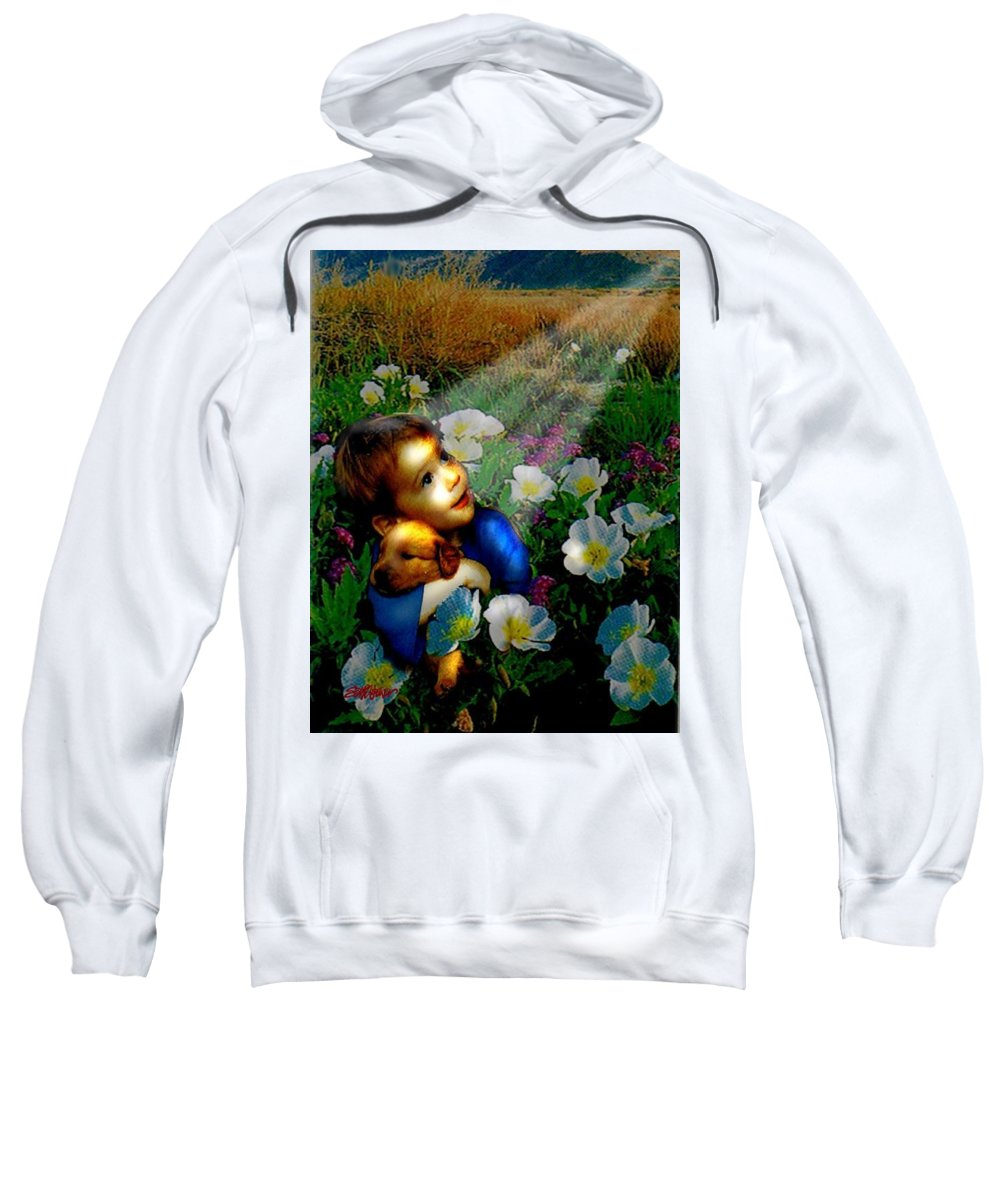 A Small Boy Loses His Puppy. Searches All Day. Finds Sick Puppy In The Rain. Now Both Are Lost Until Sweatshirt featuring the digital art Little Dog Lost by Seth Weaver