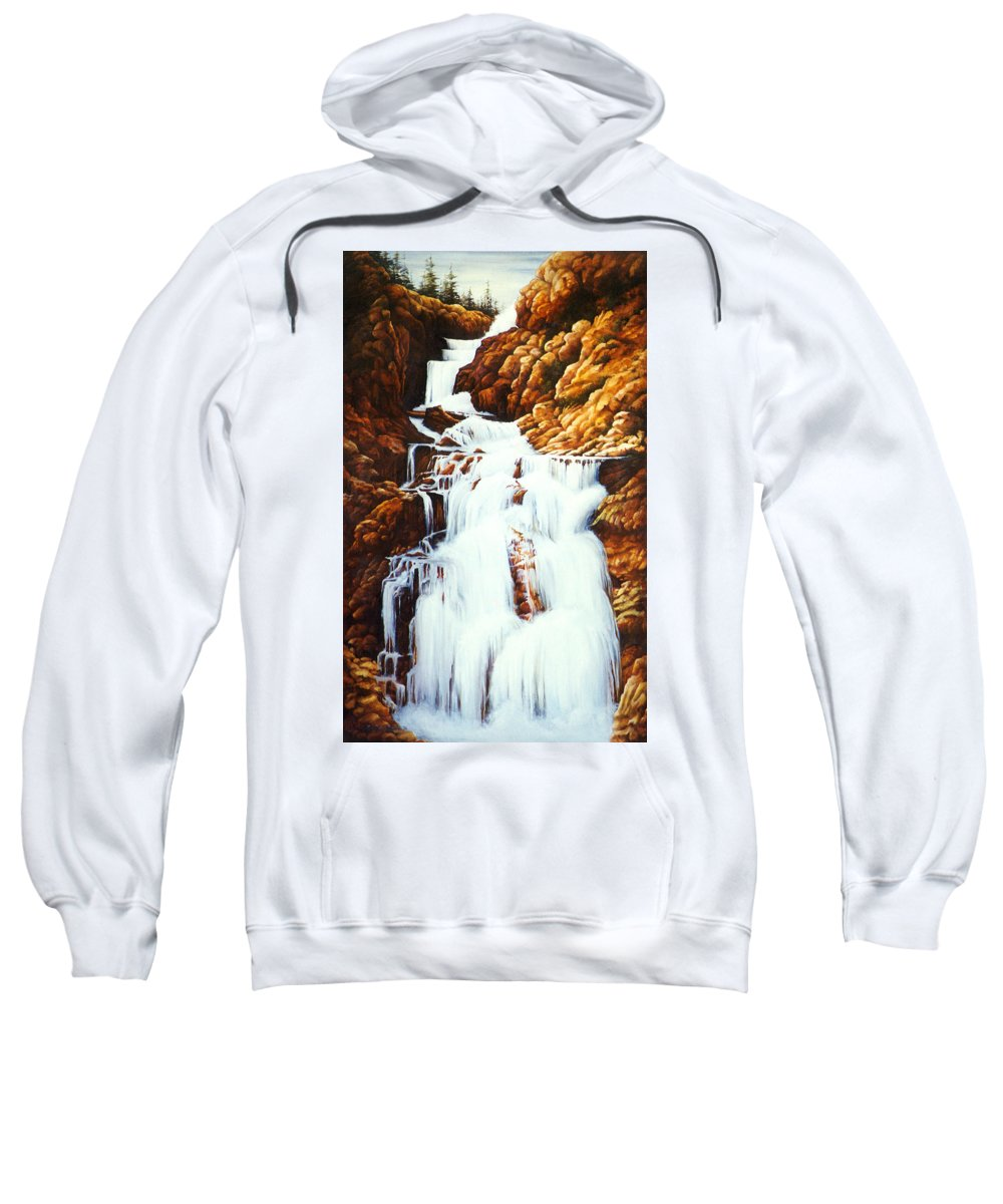 Waterfall Sweatshirt featuring the painting Little Firehole Falls by Teri Rosario