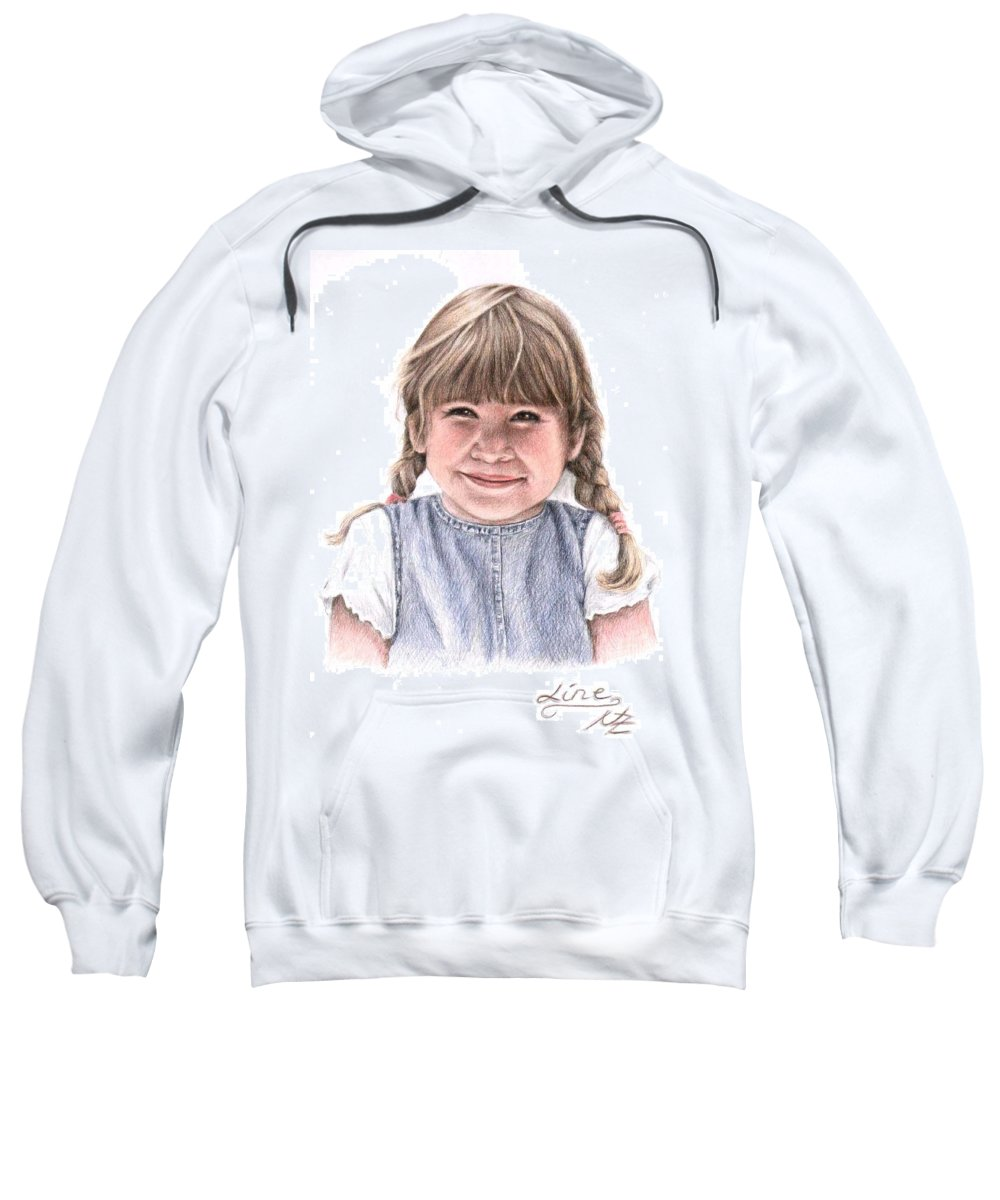 Girl Sweatshirt featuring the drawing Little Girl by Nicole Zeug