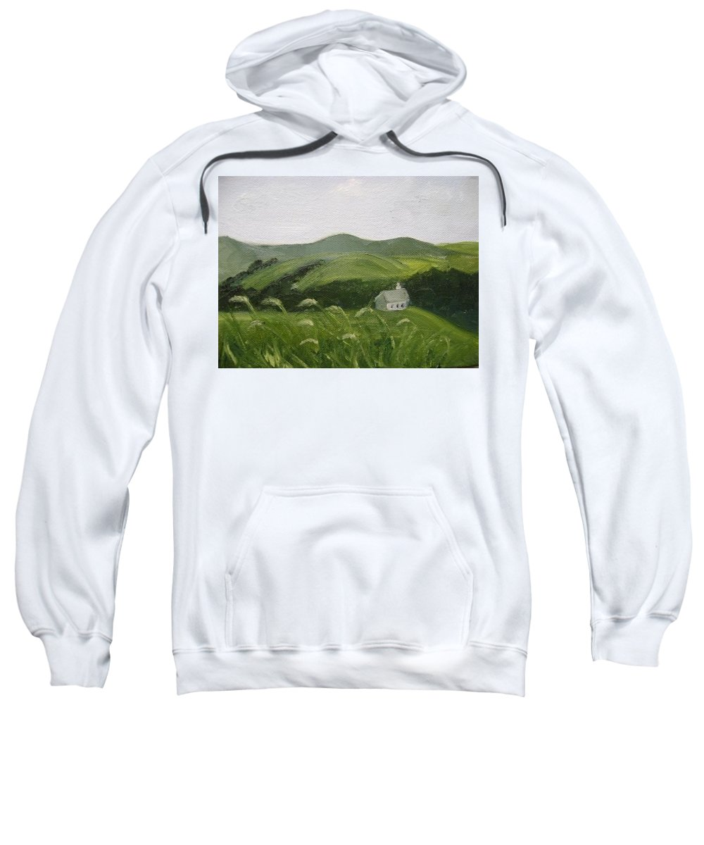 Landscape Sweatshirt featuring the painting Little Schoolhouse On The Hill by Toni Berry