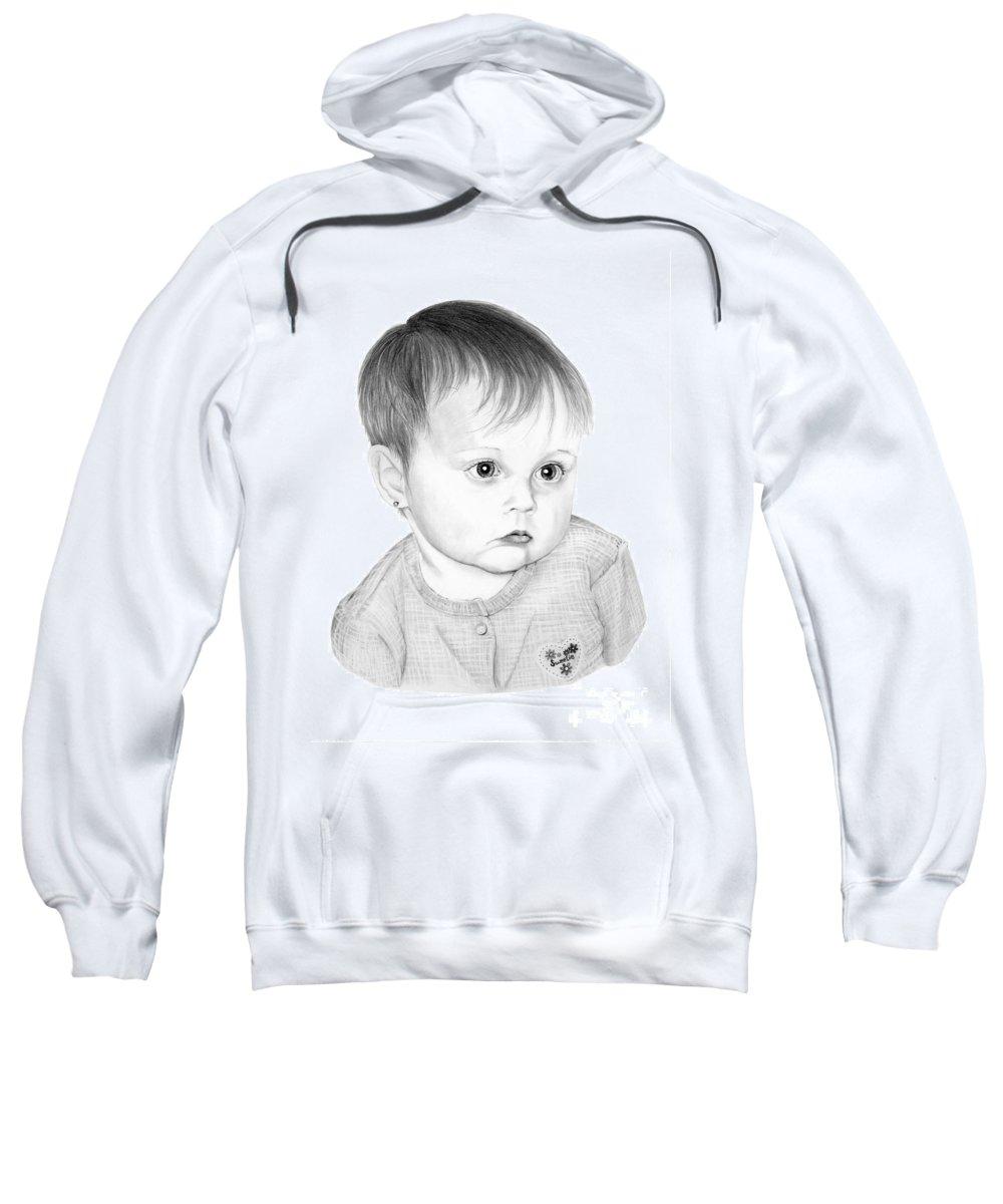 Pencil Sweatshirt featuring the drawing Little Sweetie by Murphy Elliott