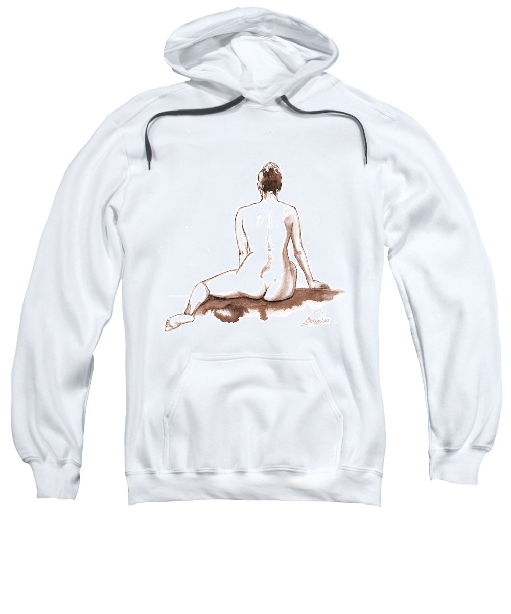 Nude Sweatshirt featuring the painting Live Model Figure  by Alban Dizdari