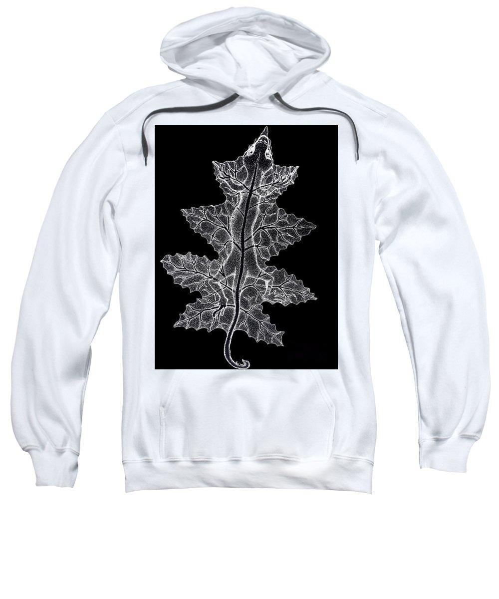 Lizard Art Sweatshirt featuring the drawing Lizard And Leaf by Nick Gustafson