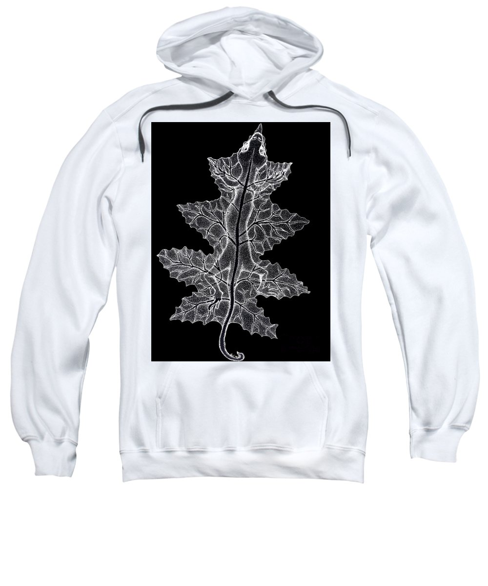 Lizard Art Sweatshirt featuring the drawing Lizard And Leaf by Nick Gustafson