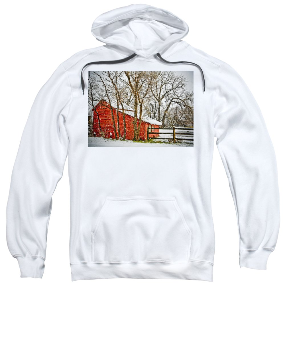 Americana Sweatshirt featuring the photograph Loafing Shed by Marilyn Hunt