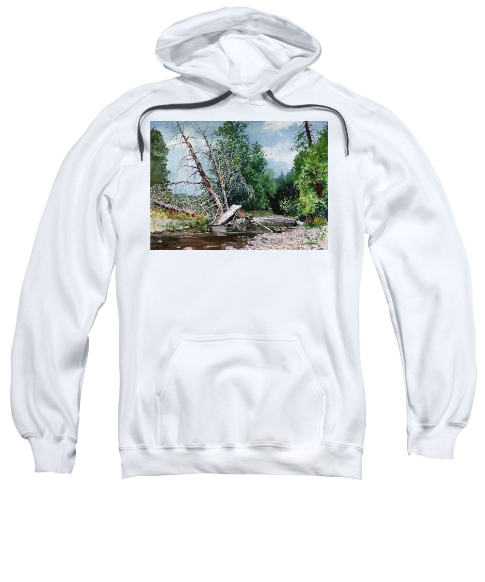 Washington State Sweatshirt featuring the painting Log Jam by Donald Maier