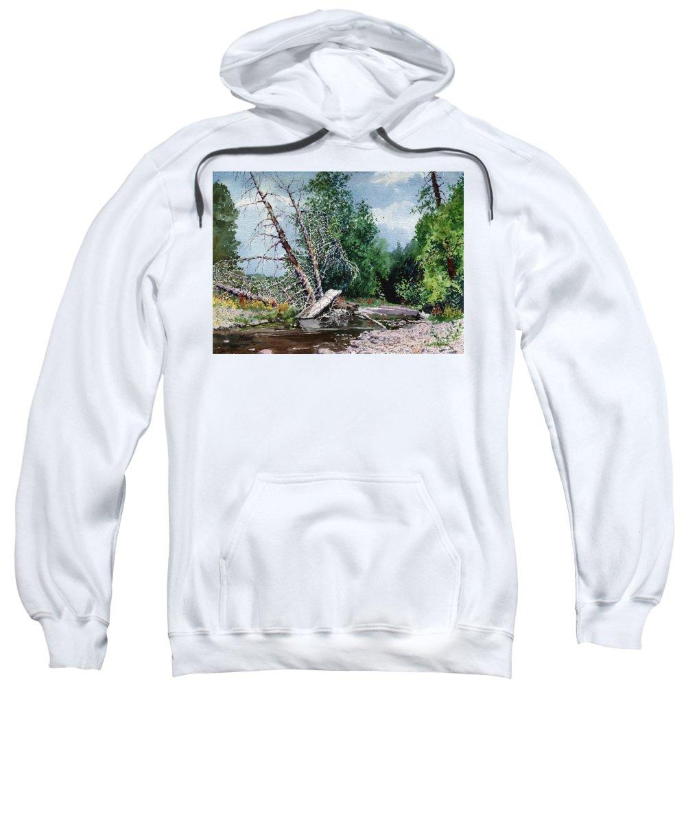 Washington State Sweatshirt featuring the painting Log Jam by Donald Maier