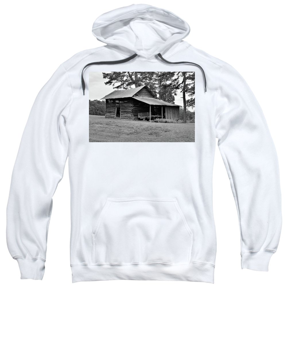 Pilot Mountain Sweatshirt featuring the photograph Log Shed by Tony Hill