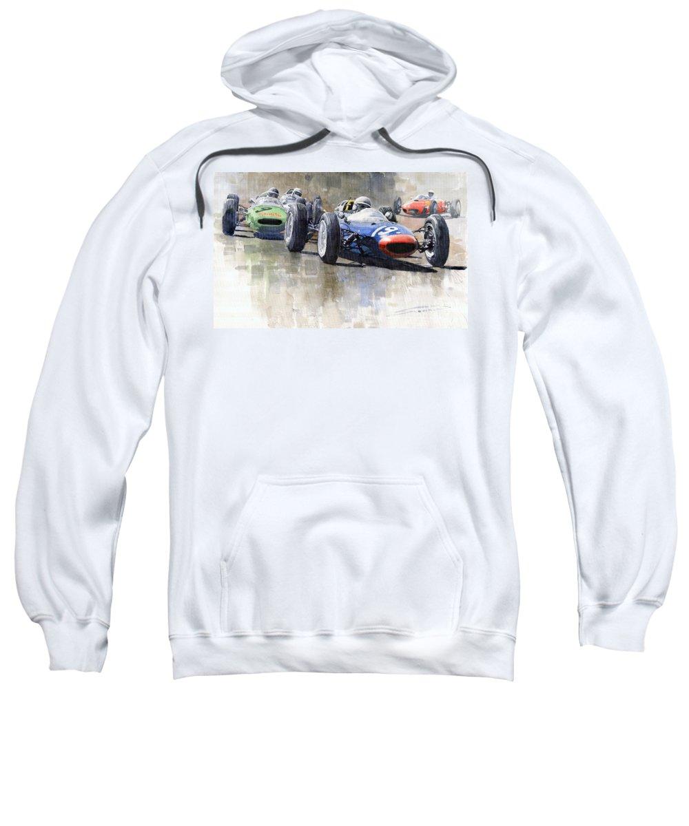 Automotive Sweatshirt featuring the painting Lola Lotus Cooper Ferrari Datch Gp 1962 by Yuriy Shevchuk