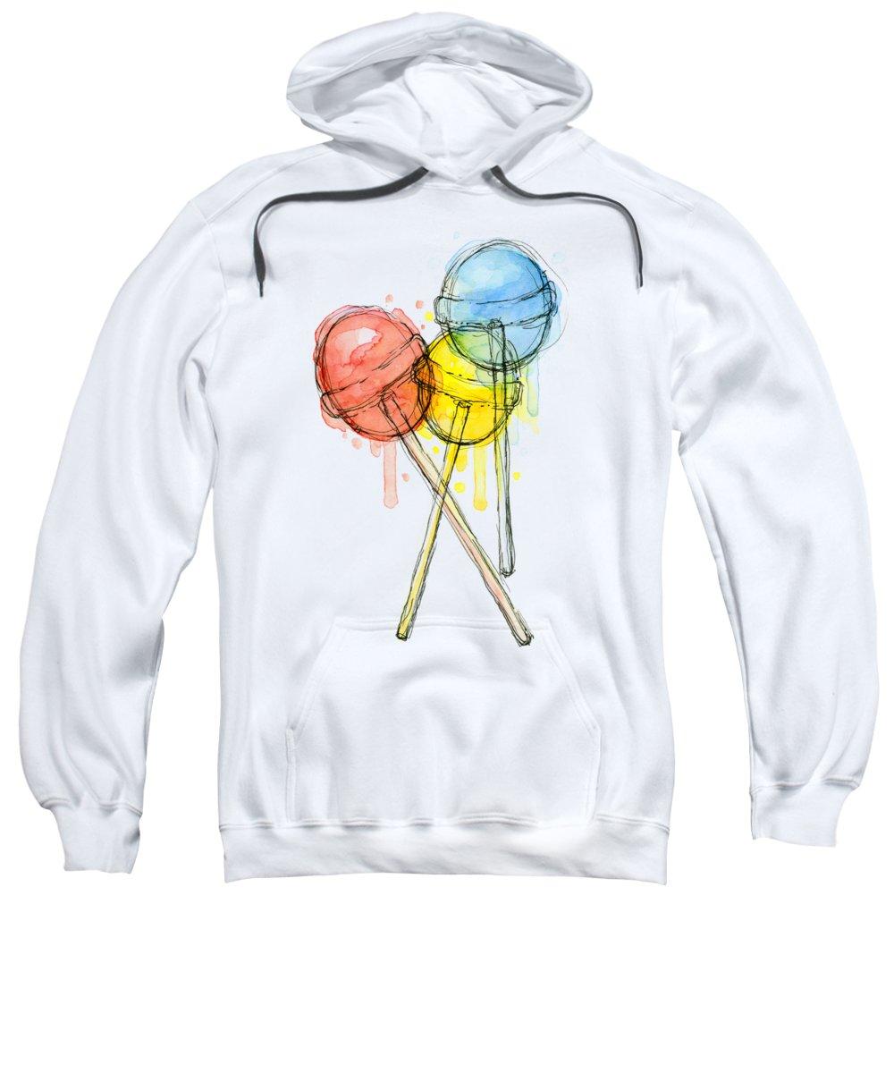 Lollipop Sweatshirt featuring the painting Lollipop Candy Watercolor by Olga Shvartsur