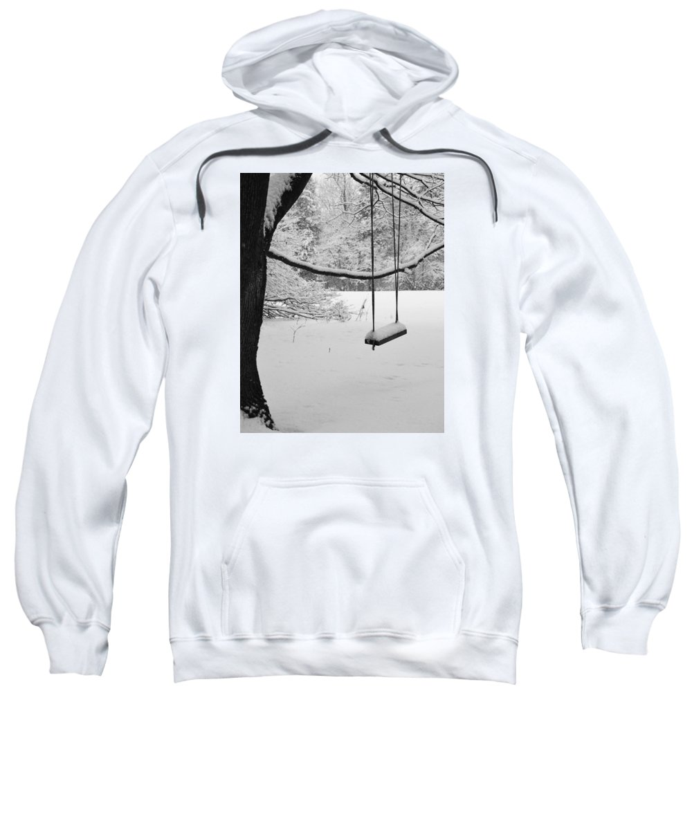 Winter Sweatshirt featuring the photograph Lonely Winter Swing Ipswich Ma by Toby McGuire