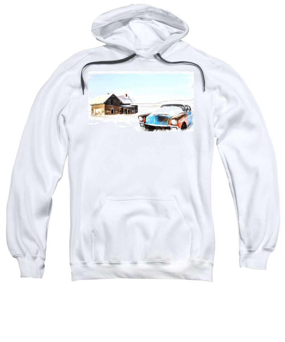 Winter Sweatshirt featuring the painting Long Winter by Susan Kinney