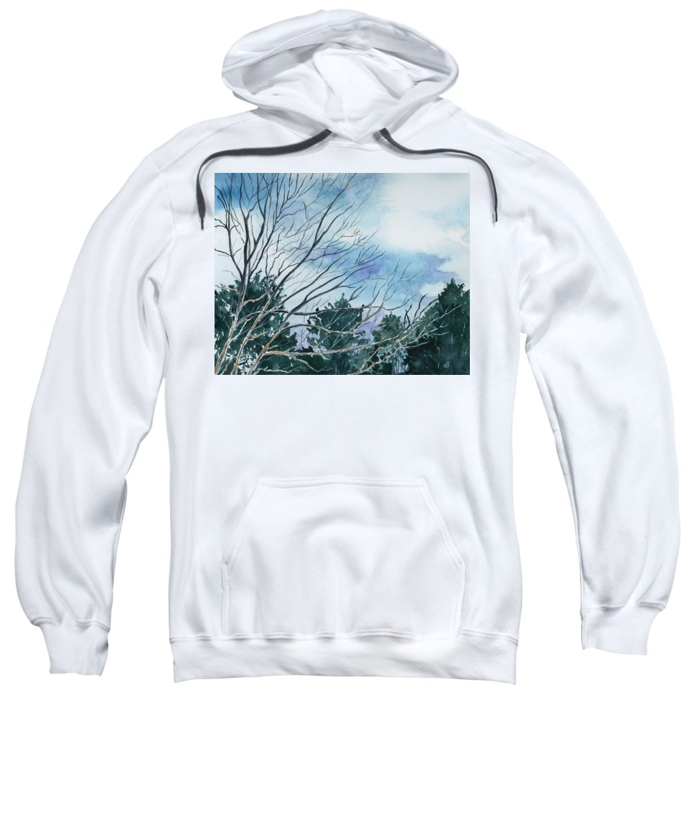 Watercolor Landscape Trees Sky Clouds Blue Sweatshirt featuring the painting Look To The Sky by Brenda Owen